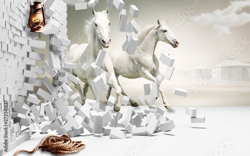 3d background horses bricks wallpaper