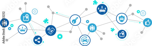 Cuadros en Lienzo car sharing / ride sharing & carpooling icon concept – vector illustration