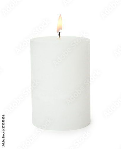 One alight wax candle on white background Wallpaper Mural