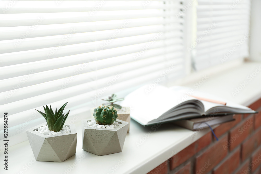 Fototapety, obrazy: Window with blinds and potted plants on sill, space for text