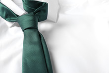 Color Male Necktie On White Shirt, Closeup. Space For Text