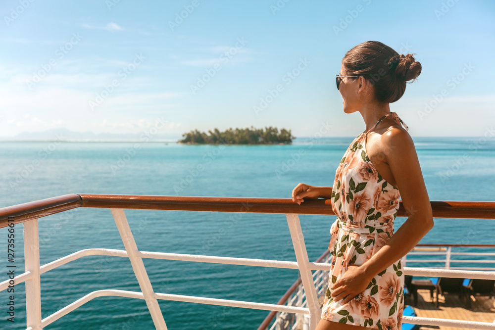 Fototapety, obrazy: Cruise ship travel vacation luxury tourism woman looking at ocean from deck of sailing boat. Luxury Tahiti Bora Bora French Polynesia destination summer lifestyle.