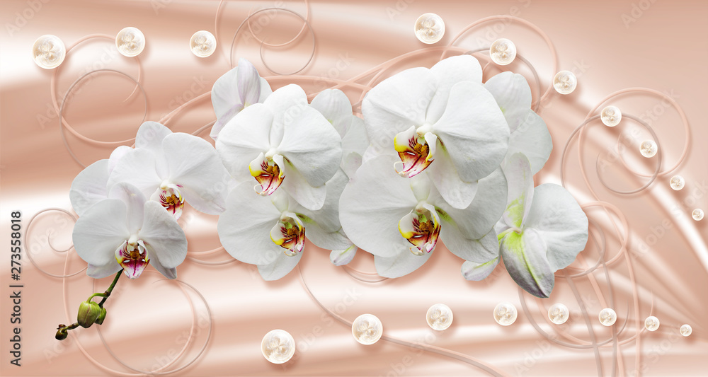 Fototapety, obrazy: 3d wallpaper, white orchids and pearls on silk background. Celebration 3d background.