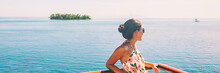 Cruise Ship Travel Vacation Woman Relaxing On Balcony Of Boat Deck At Ocean View Banner Panorama Background. Rich Lifestyle Panoramic Crop.