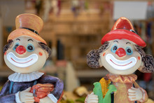 Two Clowns. Faces Close-up. Bl...