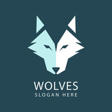 Wolf Head Logo Design Vector Template. Geometric Logo Of An Abstract Fox Head. Vector