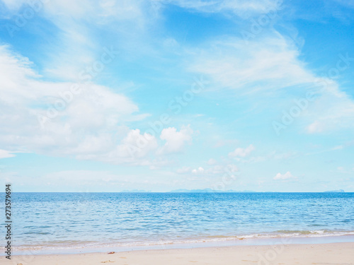Summer beach with blue sky