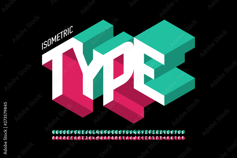 Fototapeta Isometric 3d font design, three-dimensional alphabet letters and numbers