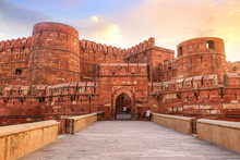 Agra Fort - Historic Red Sandstone Fort Of Medieval India At Sunrise. Agra Fort Is A UNESCO World Heritage Site In The City Of Agra India.
