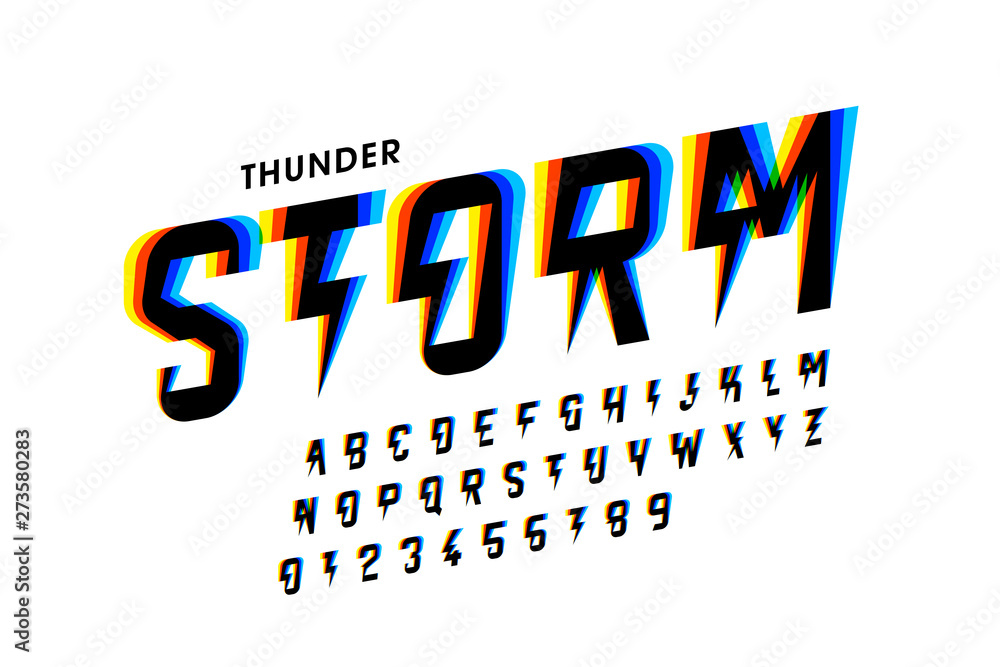 Fototapety, obrazy: Thunder storm style font design, alphabet letters and numbers