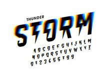 Thunder Storm Style Font Desig...