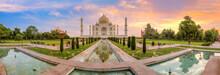 Taj Mahal Agra Panoramic View At Sunrise. Taj Mahal Is A UNESCO World Heritage Site At Uttar Pradesh India.