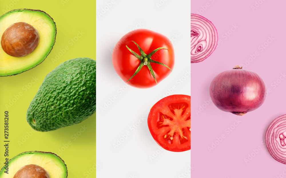 Fototapety, obrazy: Creative layout made of tomato, onion and avocado on the white background. Flat lay. Food macro concept.