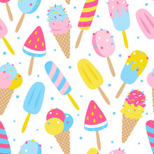 Seamless Pattern With Color Cartoon Ice Cream Isolated On White Background - Summer Design