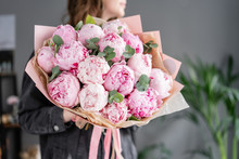Pink Peonies In Womans Hands. Beautiful Peony Flower For Catalog Or Online Store. Floral Shop Concept . Beautiful Fresh Cut Bouquet. Flowers Delivery