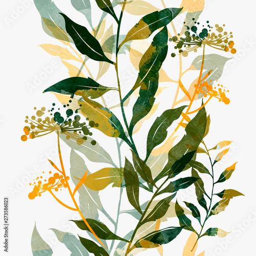 wiosna-kwiatowy-streszczenie-prosty-rustykalny-wzor-kwiatostanow-i-lisci-cyfrowy-recznie-rysowane-obraz-z-akwarela