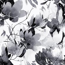 Monochrome Floral Spring Abstr...