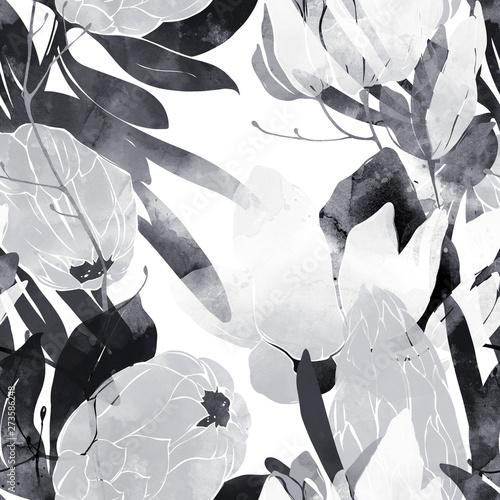 monochromatyczny-kwiatowy-wiosna-streszczenie-rustykalny-wzor-bezszwowe-kwiatow-i-lisci-obraz-cyfrowy-wyciagnac-reke-z