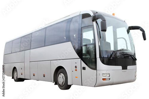 Photo Modern tourist bus on white background.