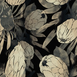 imprints protea flowers and leaves mix repeat seamless pattern. digital hand drawn picture with watercolour texture. - 273587037