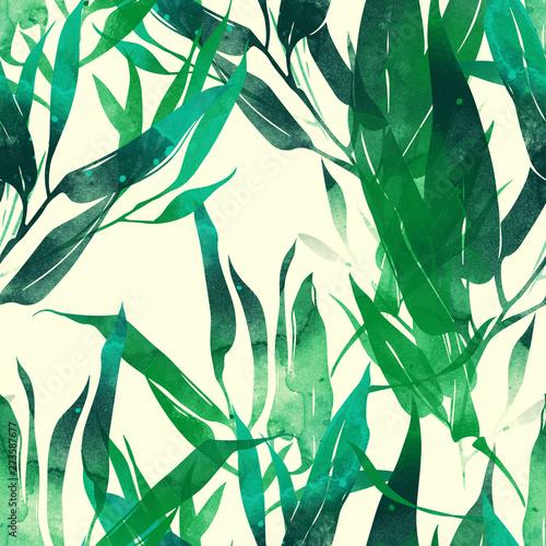 odciski-lisci-bambusa-wymieszac-powtarzac-szwu-cyfrowy-recznie-rysowane-obraz-z-akwarela-tekstury-rozne-srodki-przekazu