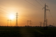 Sunset Landscape Of High-voltage Power Lines In The Land Around City Of Plovdiv, Bulgaria
