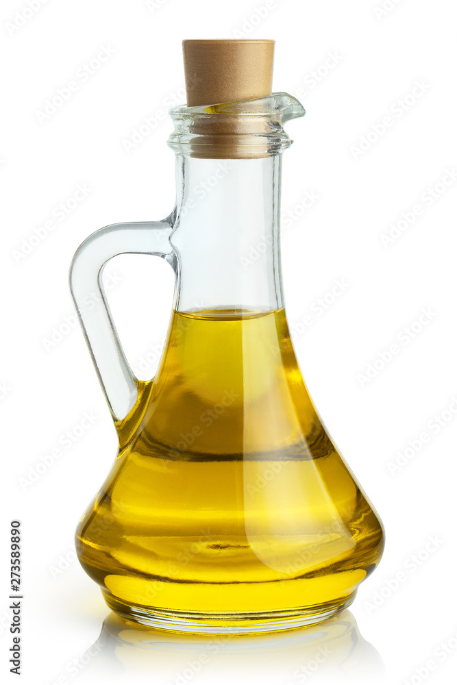 Fototapety, obrazy: Delicious olive oil in a glass bottle, isolated on white background