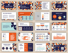 Pitch Deck Presentation Design Template. Geometric Abstract Shapes Composition. Vector Slide Layout Background For Business Report, Brochure, Flyer, Leaflet, Advertising.