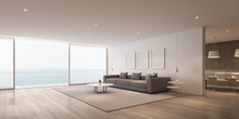 Perspective Of Modern Luxury Living Room With Grey Sofa And White Picture Frame And Dining Table Set On Sea View Background,Idea Of Family Vacation - Warm Timber Interior Design - 3D Rendering.
