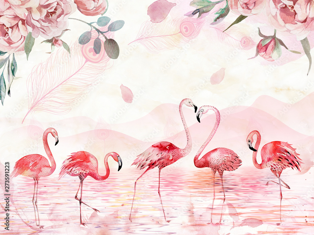 Fototapety, obrazy: Pink landscape background, lake, hills, large roses and feathers on top, five flamingos in the foreground