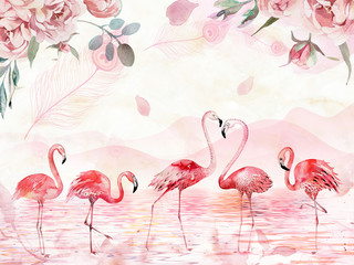 Fototapeta Romantyczny Pink landscape background, lake, hills, large roses and feathers on top, five flamingos in the foreground
