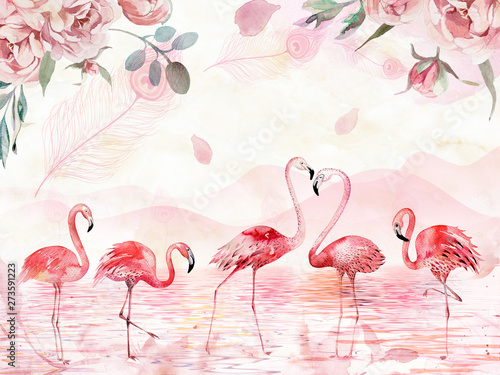 Pink landscape background, lake, hills, large roses and feathers on top, five flamingos in the foreground