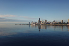 Panorama Of Chicago From The Height And Lake Michigan, Skyscrapers Morning Sun
