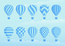 Collection Of Duotone Vector Hot Air Balloons. Zig Zags, Wavy Lines, Striped Or Checkered Patterns On Vintage Style Hot Air Balloon With Basket At Cloud Background For Sky Holiday Adventure Design