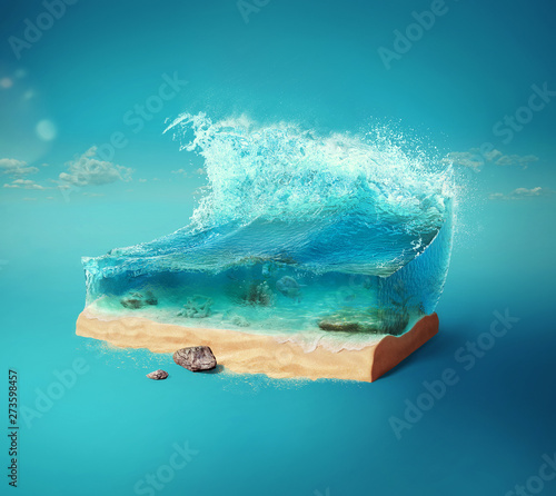 Foto op Plexiglas Abstract wave Travel and vacation background. 3d illustration with cut of the ground and the beautiful sea underwater. Baby sea isolated on blue.