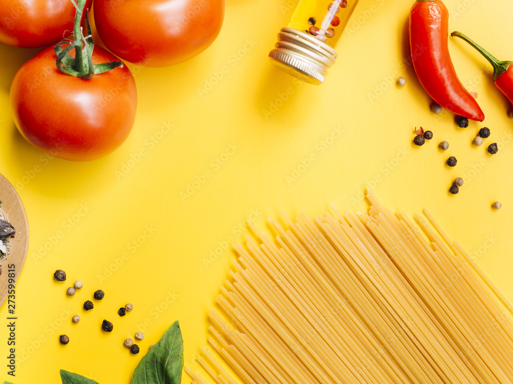 Fototapety, obrazy: Flat lay composition of pasta with copyspace