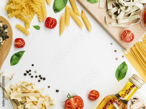 Flat lay composition of pasta with copyspace Fototapet