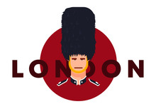 Vector Illustration Of A British Guardsman In Traditional Form, With The Inscription London