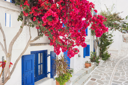 Traditional greek house with flowers in Paros island, Cyclades, Greece фототапет