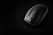 Wireless Mobile Mouse On Black Background
