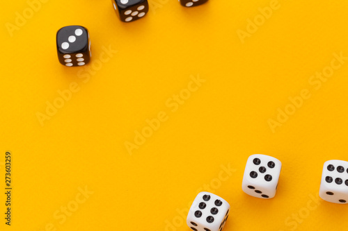 dice on a yellow background Canvas Print