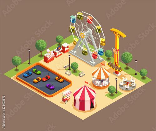 Amusement Park Composition Wallpaper Mural