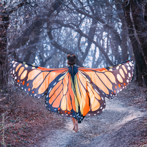 fairy tale about butterfly, mysterious story of girl with red hair