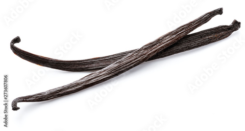 Cuadros en Lienzo Dried vanilla stick isolated on white background.