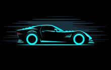 Stylized Simple Drawing Sport Super Car Coupe Side View On A Dark Background
