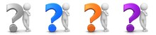 Question Mark 3d Silver Blue Orange Purple With White Standing Thinking Asking Stick Figure Man Person Character Isolated On White