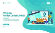 Website Is Under Construction Concept, A Team Fixing Web System, Updating The Server By Developers  Suitable For Web Landing Page, Ui, Mobile App, Banner Template. Vector Illustration