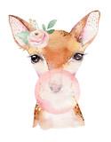 Fototapeta Fototapety na ścianę do pokoju dziecięcego - Watercolor forest cartoon isolated cute baby deer, animal with flowers. Nursery woodland illustration. Bohemian boho drawing for nursery poster, pattern