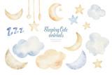 Fototapeta Fototapety na ścianę do pokoju dziecięcego - Cute dreaming cartoon animal hand drawn watercolor illustration. Sleeping charecher kids nursery wear fashion design, baby shower invitation card.