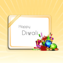 Celebration Of Diwali With Frame And Colourful Crackers.